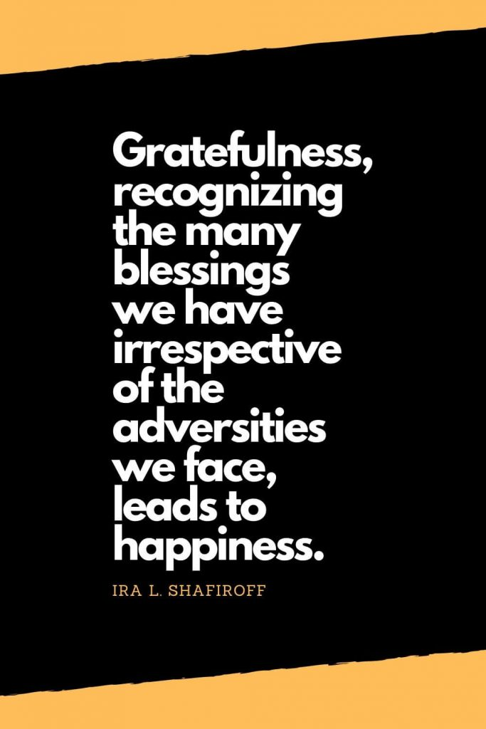 Quotes about Happiness (8): Gratefulness, recognizing the many blessings we have irrespective of the adversities we face, leads to happiness. - Ira L. Shafiroff