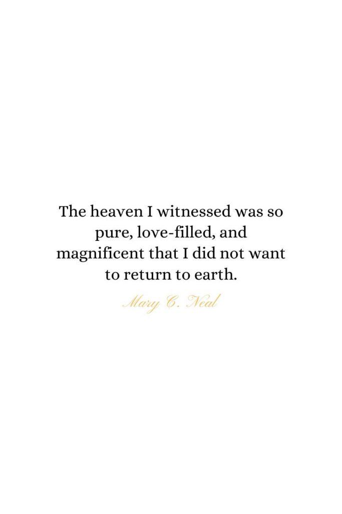 Heaven Quotes (1): The heaven I witnessed was so pure, love-filled, and magnificent that I did not want to return to earth. -  Mary C. Neal, MD