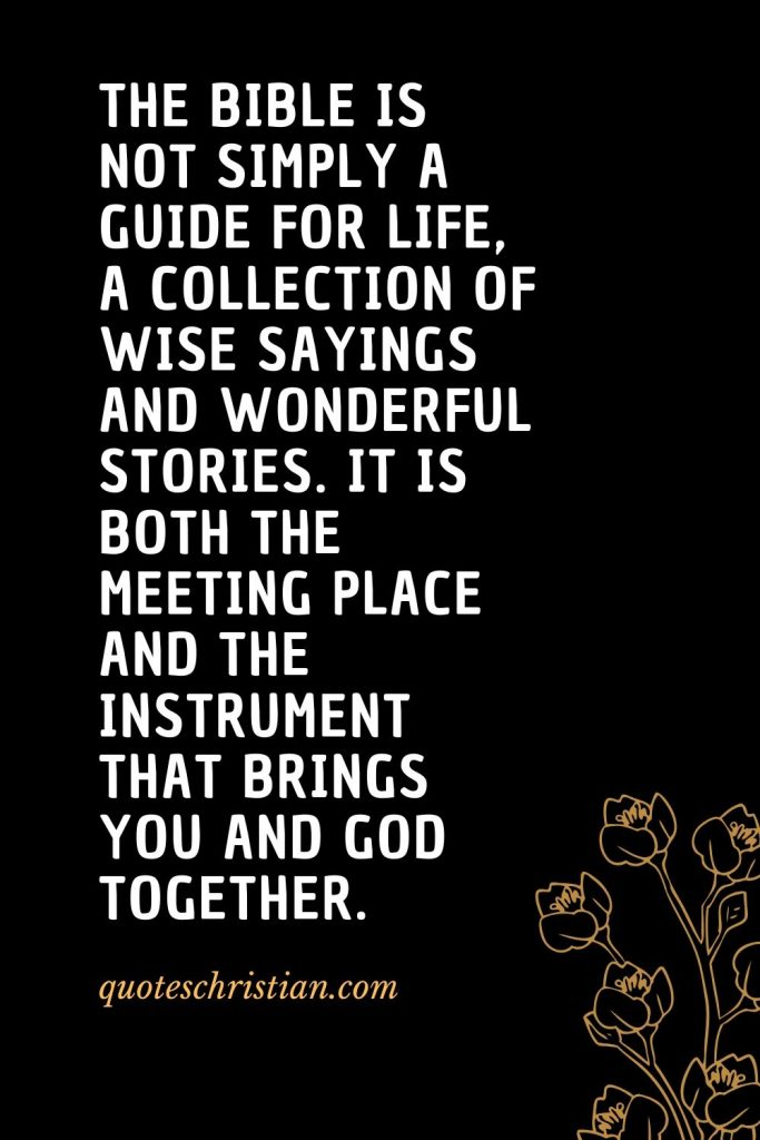 Quotes about the Bible (50): The Bible is not simply a guide for life, a collection of wise sayings and wonderful stories. It is both the meeting place and the instrument that brings you and God together.