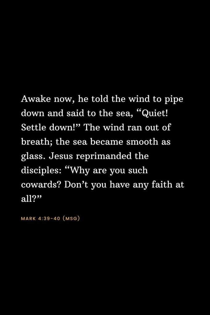 "Bible Verses about Faith (6): Awake now, he told the wind to pipe down and said to the sea, ""Quiet! Settle down!"" The wind ran out of breath; the sea became smooth as glass. Jesus reprimanded the disciples: ""Why are you such cowards? Don't you have any faith at all?"" Mark 4:39-40 (MSG)"