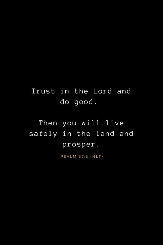 Bible Verses about Life (13): Trust in the Lord and do good. Then you will live safely in the land and prosper. Psalm 37:3 (NLT)