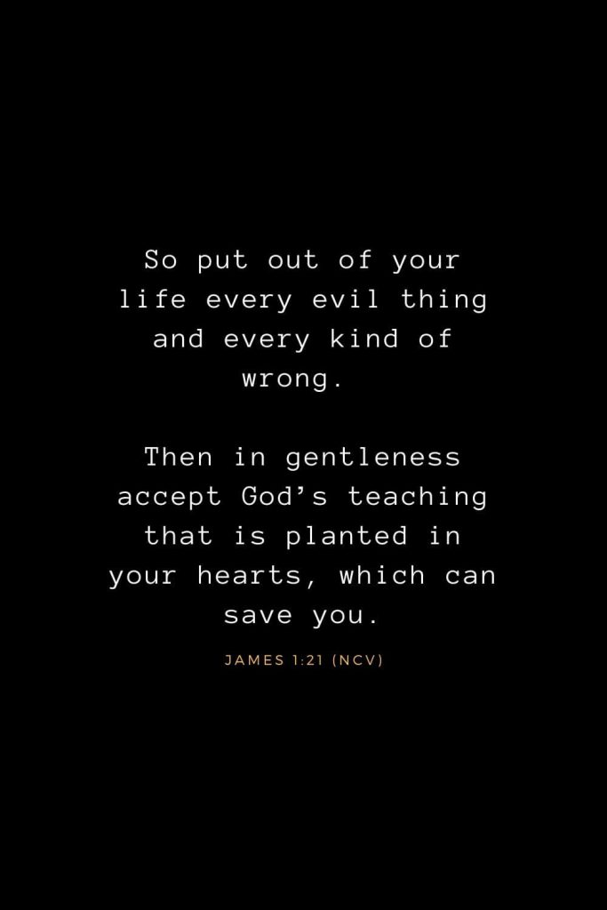 Bible Verses about Life (25): So put out of your life every evil thing and every kind of wrong. Then in gentleness accept God's teaching that is planted in your hearts, which can save you. James 1:21 (NCV)