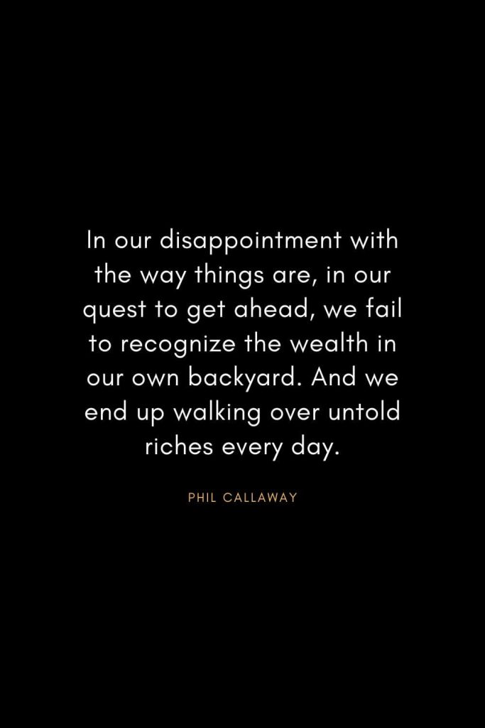 Christian Words of Inspiration (34): In our disappointment with the way things are, in our quest to get ahead, we fail to recognize the wealth in our own backyard. And we end up walking over untold riches every day. - Phil Callaway