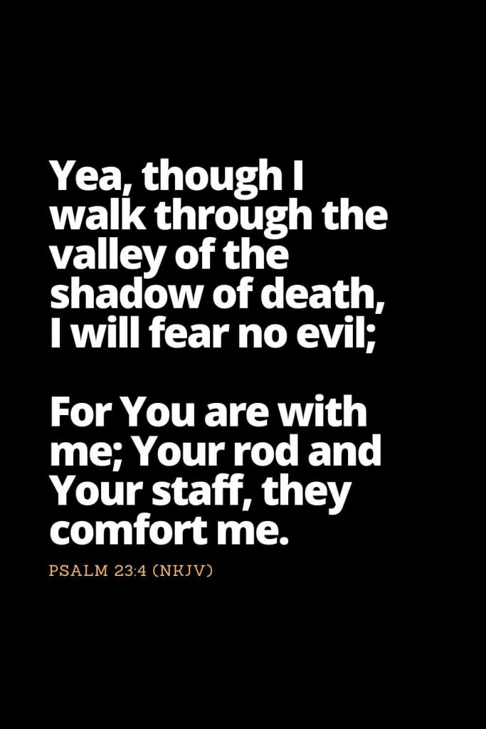 Motivational Bible Verses (14): Yea, though I walk through the valley of the shadow of death, I will fear no evil; For You are with me; Your rod and Your staff, they comfort me. Psalm 23:4 (NKJV)