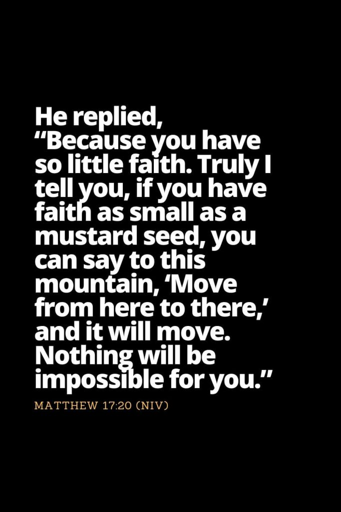 "Motivational Bible Verses (31): He replied, ""Because you have so little faith. Truly I tell you, if you have faith as small as a mustard seed, you can say to this mountain, 'Move from here to there,' and it will move. Nothing will be impossible for you."" Matthew 17:20 (NIV)"