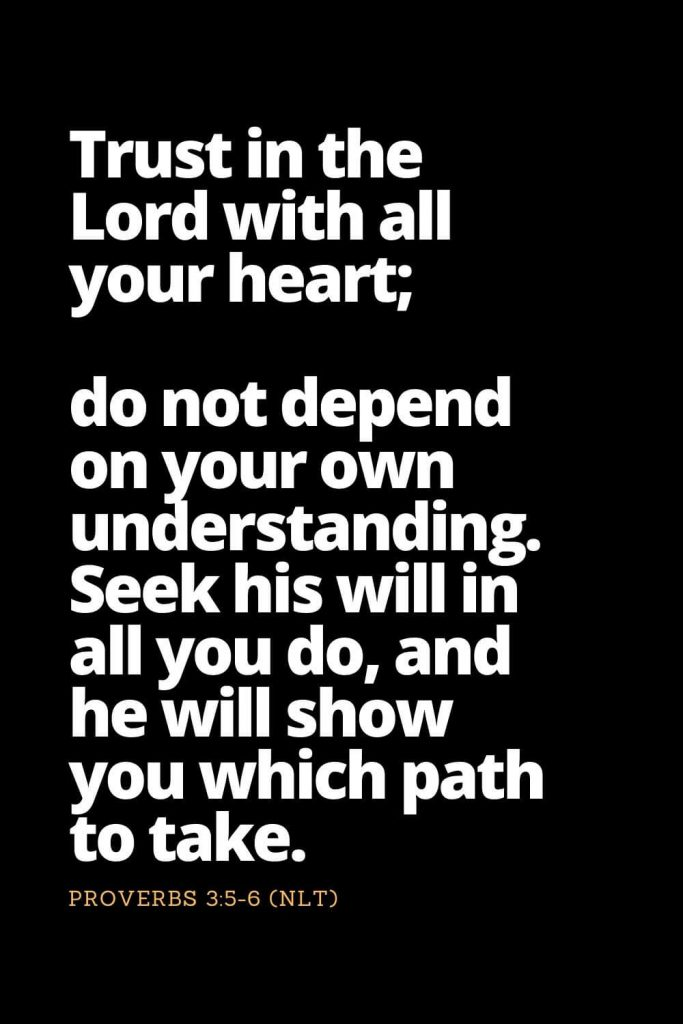 Motivational Bible Verses (9): Trust in the Lord with all your heart; do not depend on your own understanding. Seek his will in all you do, and he will show you which path to take. Proverbs 3:5-6 (NLT)