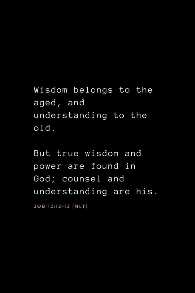 Wisdom Bible Verses (25): Wisdom belongs to the aged, and understanding to the old. But true wisdom and power are found in God; counsel and understanding are his. Job 12:12-13 (NLT)