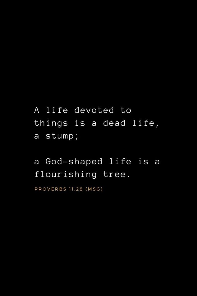 Wisdom Bible Verses (36): A life devoted to things is a dead life, a stump; a God-shaped life is a flourishing tree. Proverbs 11:28 (MSG)