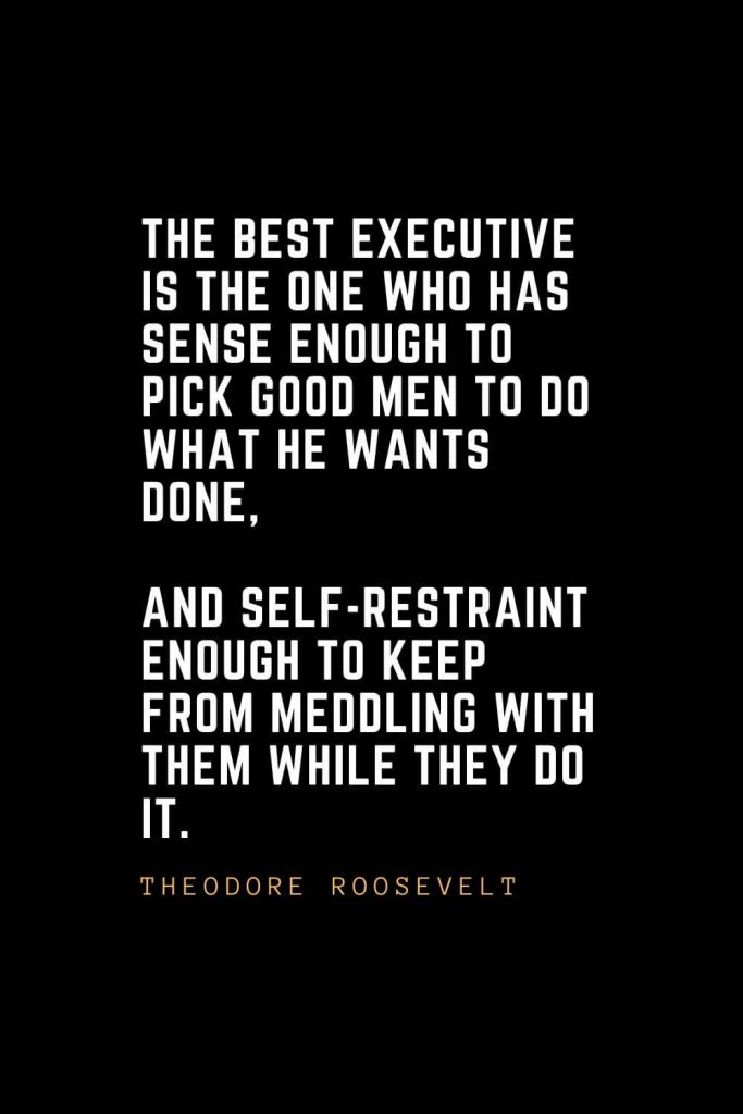 Leadership Quotes (24): The best executive is the one who has sense enough to pick good men to do what he wants done, and self-restraint enough to keep from meddling with them while they do it. — Theodore Roosevelt