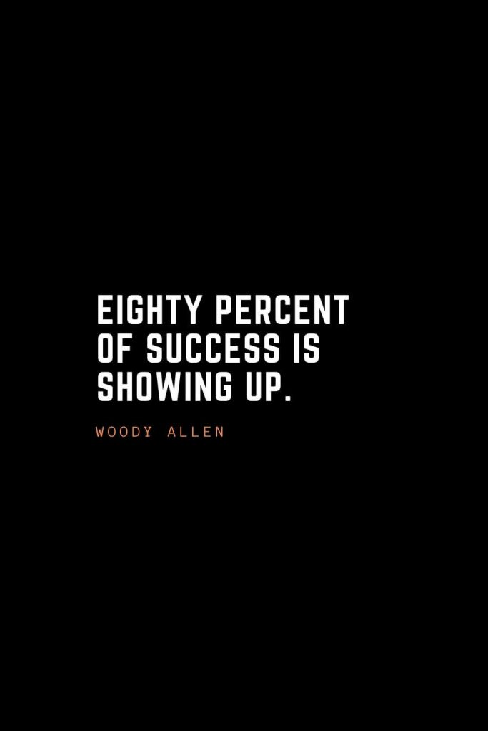 Top 100 Inspirational Quotes (20): Eighty percent of success is showing up. – Woody Allen