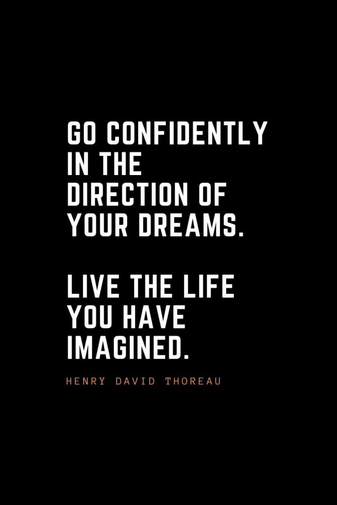 Top 100 Inspirational Quotes (38): Go confidently in the direction of your dreams. Live the life you have imagined. – Henry David Thoreau