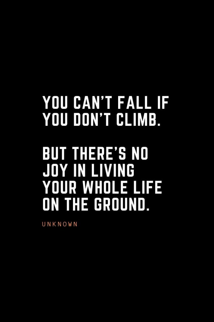 Top 100 Inspirational Quotes (58): You can't fall if you don't climb. But there's no joy in living your whole life on the ground. – Unknown