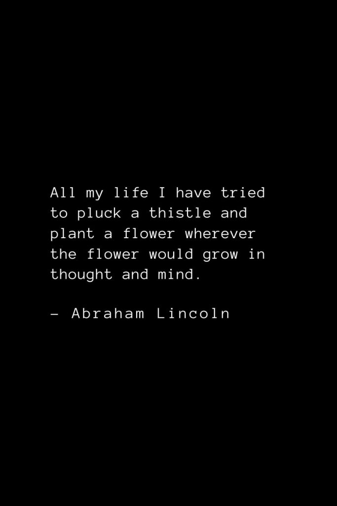 Abraham Lincoln Quotes (5): All my life I have tried to pluck a thistle and plant a flower wherever the flower would grow in thought and mind.