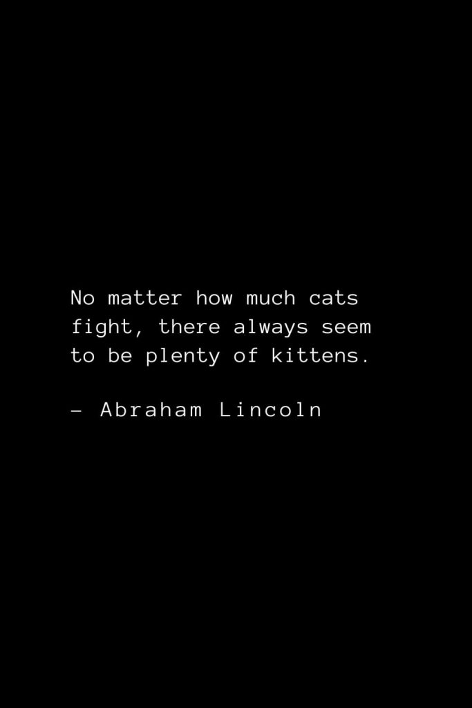 Abraham Lincoln Quotes (55): No matter how much cats fight, there always seem to be plenty of kittens.
