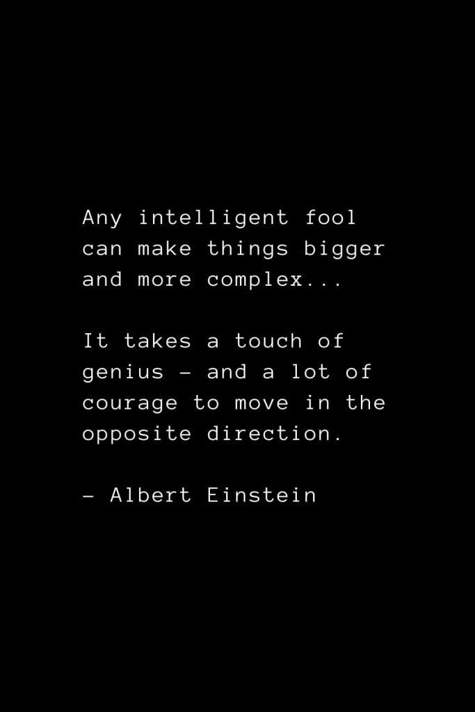 Any intelligent fool can make things bigger and more complex... It takes a touch of genius - and a lot of courage to move in the opposite direction. - Albert Einstein