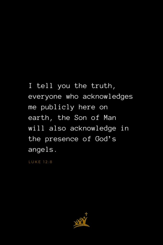 Bible Verses about Angels (6): I tell you the truth, everyone who acknowledges me publicly here on earth, the Son of Man will also acknowledge in the presence of God's angels. Luke 12:8