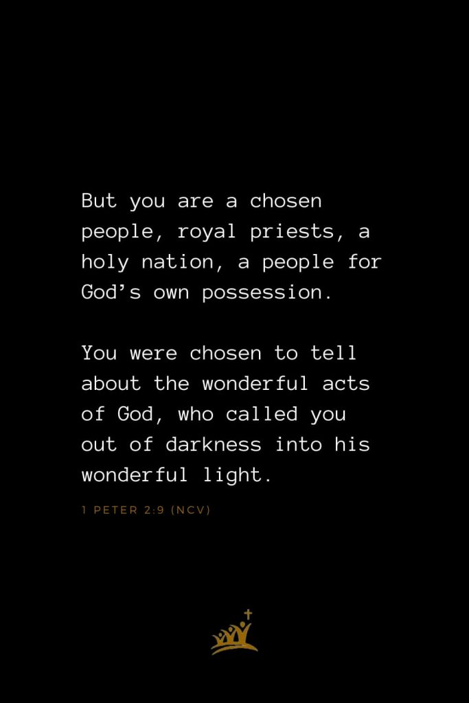 Bible Verses about Church (13): But you are a chosen people, royal priests, a holy nation, a people for God's own possession. You were chosen to tell about the wonderful acts of God, who called you out of darkness into his wonderful light. 1 Peter 2:9 (NCV)