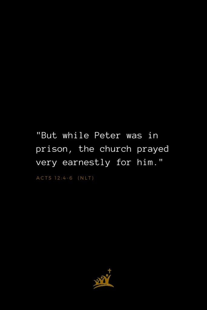 "Bible Verses about Church (2): ""But while Peter was in prison, the church prayed very earnestly for him."" Acts 12:4-6 (NLT)"