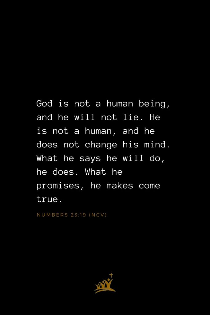 Bible Verses about God (25): God is not a human being, and he will not lie. He is not a human, and he does not change his mind. What he says he will do, he does. What he promises, he makes come true. Numbers 23:19 (NCV)