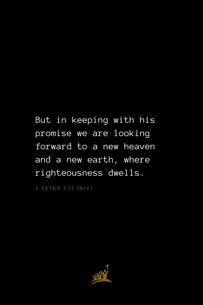 Bible Verses about Heaven (6): But in keeping with his promise we are looking forward to a new heaven and a new earth, where righteousness dwells. 2 Peter 3:13 (NIV)