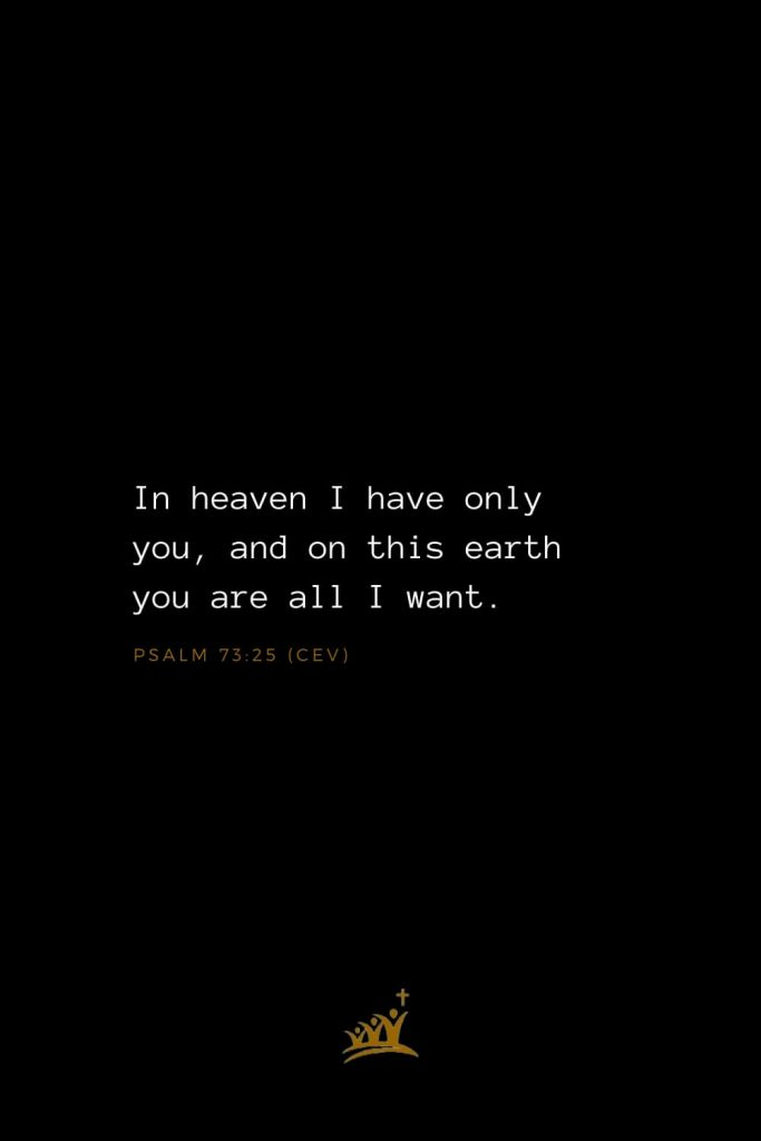 Bible Verses about Heaven (7): In heaven I have only you, and on this earth you are all I want. Psalm 73:25 (CEV)