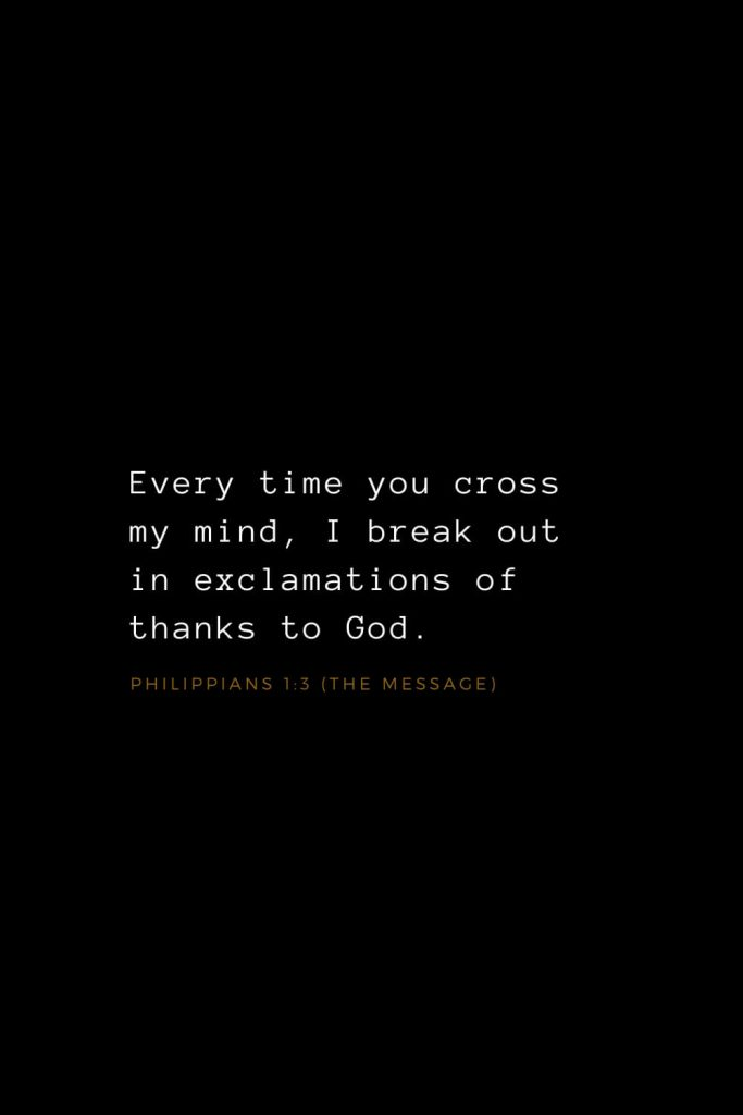 Bible Verses about Love (10): Every time you cross my mind, I break out in exclamations of thanks to God. Philippians 1:3 (The Message)