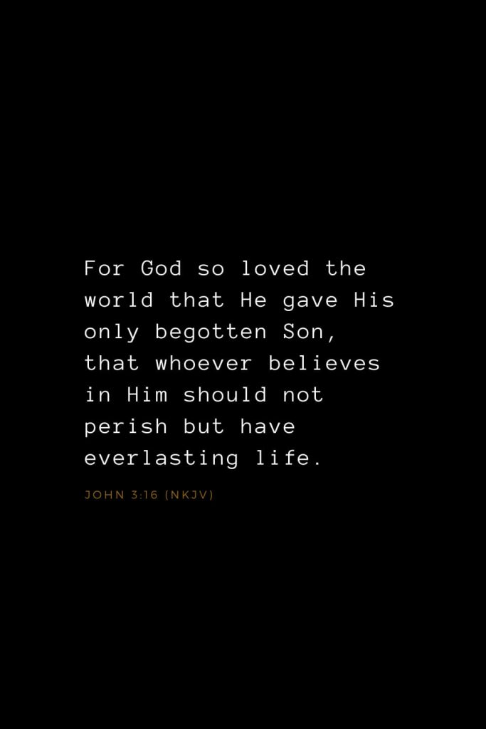 Bible Verses about Love (8): For God so loved the world that He gave His only begotten Son, that whoever believes in Him should not perish but have everlasting life. John 3:16 (NKJV)