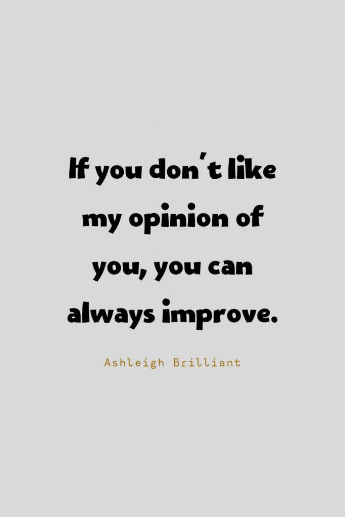 Funny Quotes (119): If you don't like my opinion of you, you can always improve. -Ashleigh Brilliant