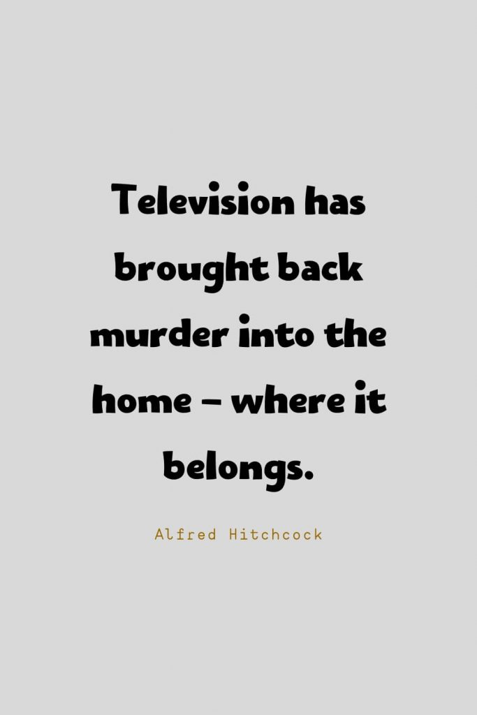 Funny Quotes (36): Television has brought back murder into the home - where it belongs. -Alfred Hitchcock