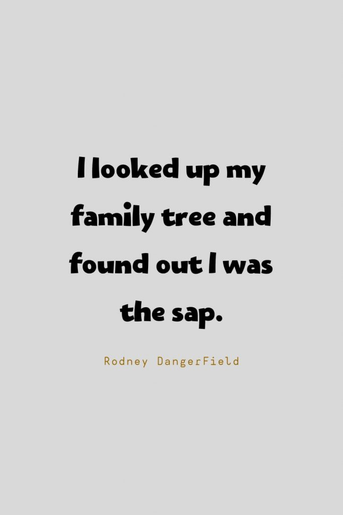 Funny Quotes (57): I looked up my family tree and found out I was the sap. -Rodney DangerField