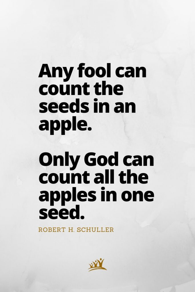 Any fool can count the seeds in an apple. Only God can count all the apples in one seed. –Robert H. Schuller