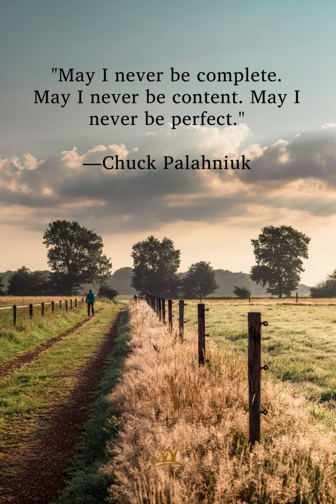 """""""May I never be complete. May I never be content. May I never be perfect."""" —Chuck Palahniuk"""