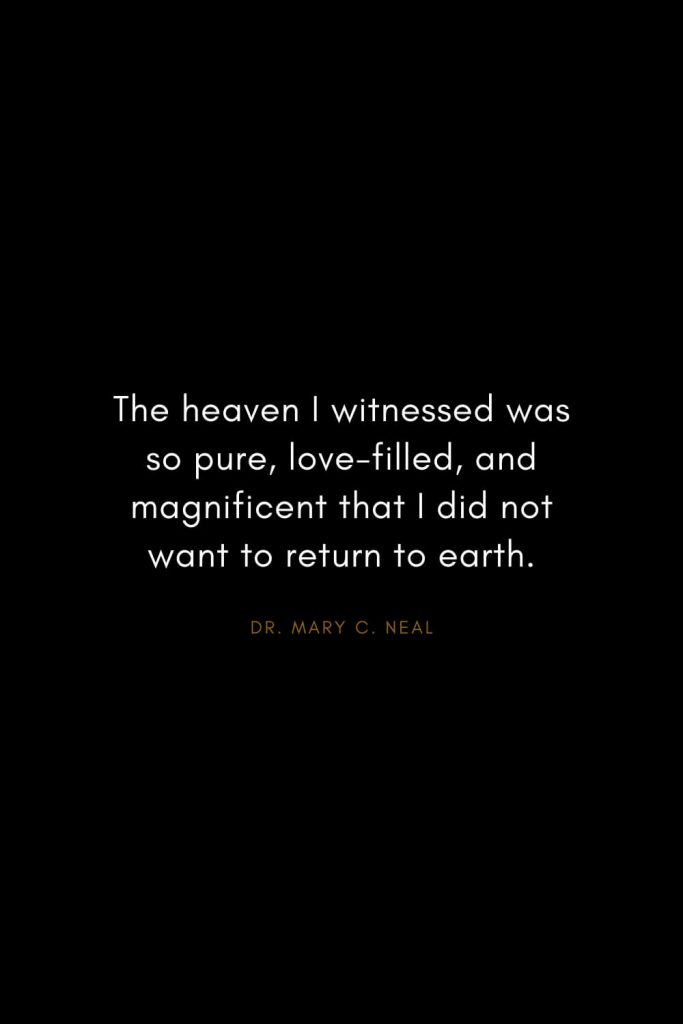 Mary C. Neal Quotes (8): The heaven I witnessed was so pure, love-filled, and magnificent that I did not want to return to earth.
