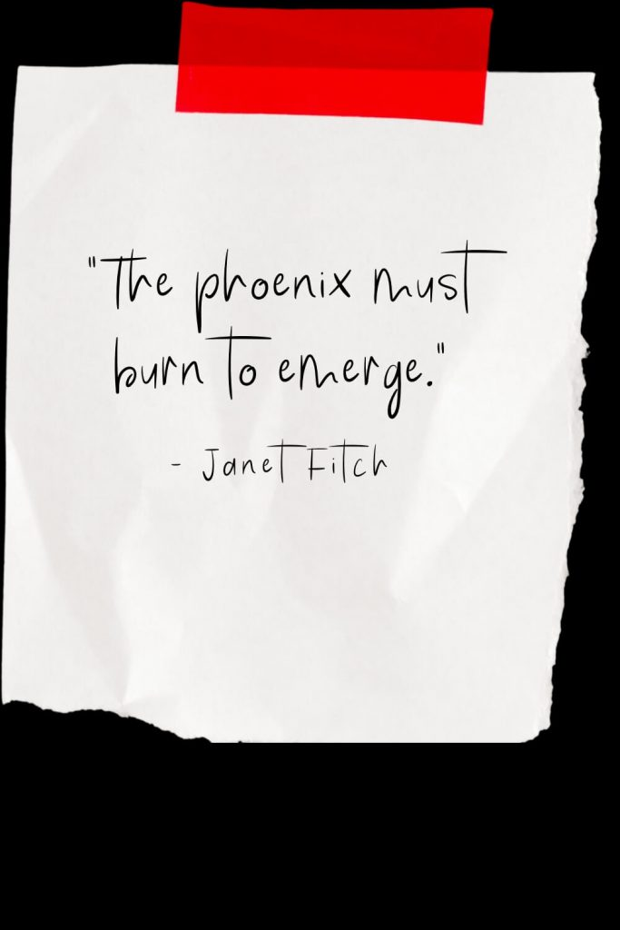 """The phoenix must burn to emerge."" - Janet Fitch"