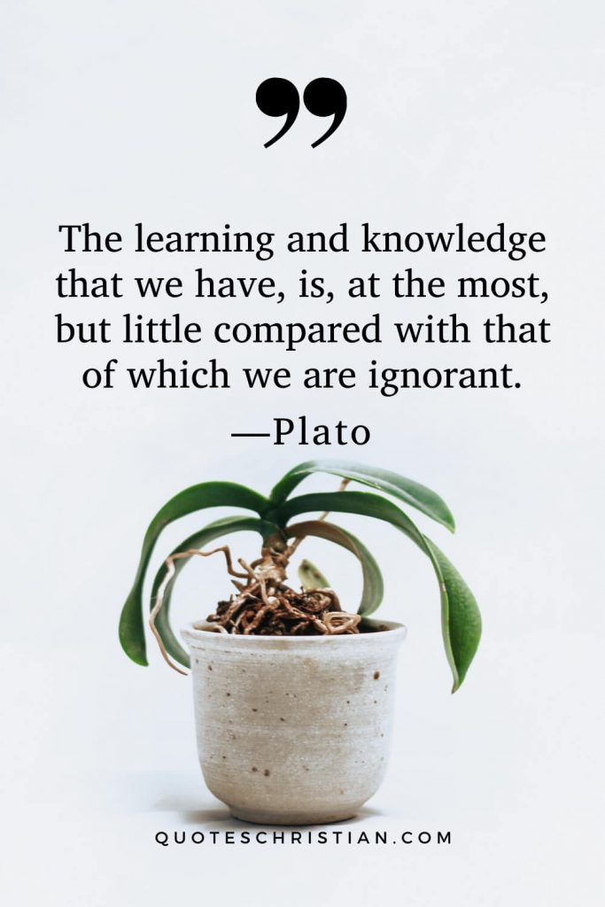 Quotes By Plato: The learning and knowledge that we have, is, at the most, but little compared with that of which we are ignorant.