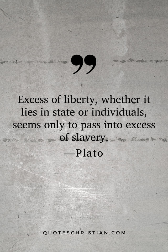Quotes By Plato: Excess of liberty, whether it lies in state or individuals, seems only to pass into excess of slavery.