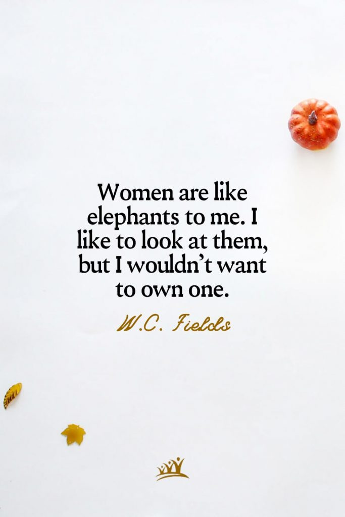Women are like elephants to me. I like to look at them, but I wouldn't want to own one. – W.C. Fields