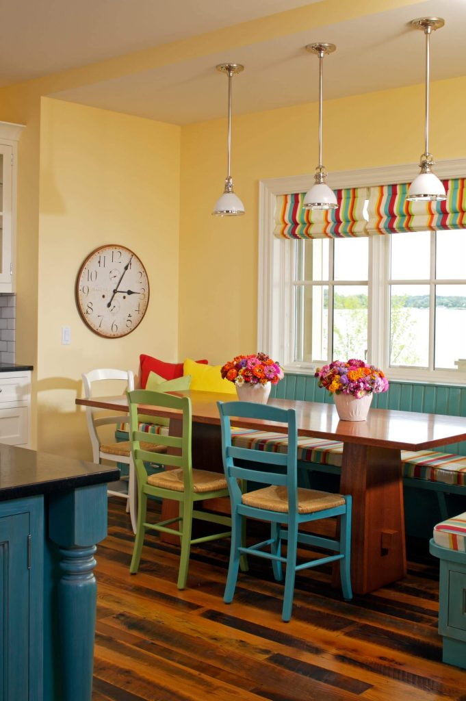 A 4 by 12 foot breakfast banquette was constructed by Zahn Builders Inc. for this Lake Macatawa, Michigan, kitchen