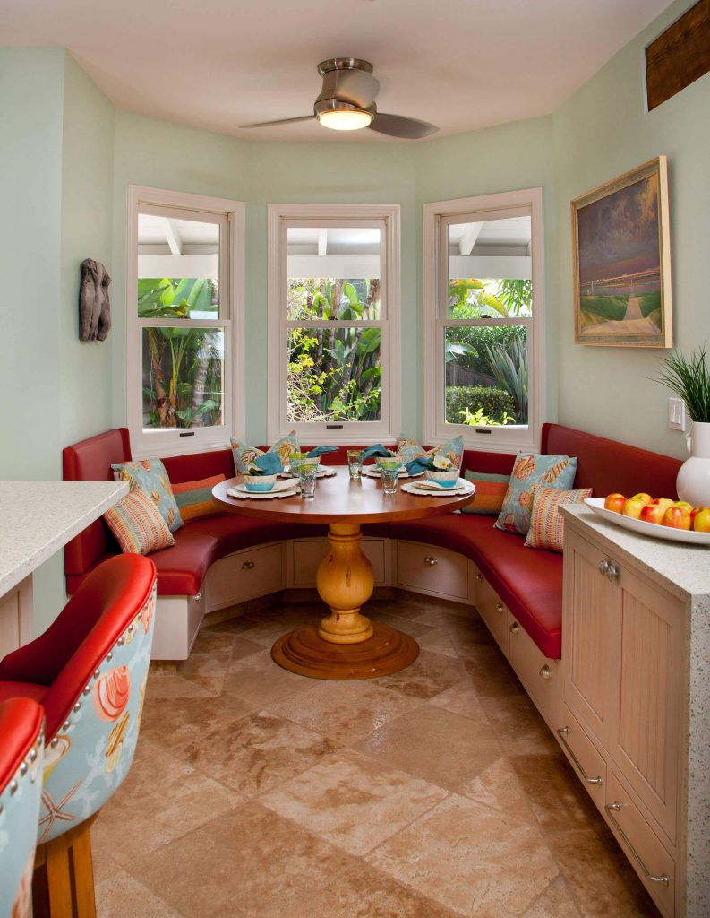 A tropical color palette and patterns are featured in this San Diego breakfast area