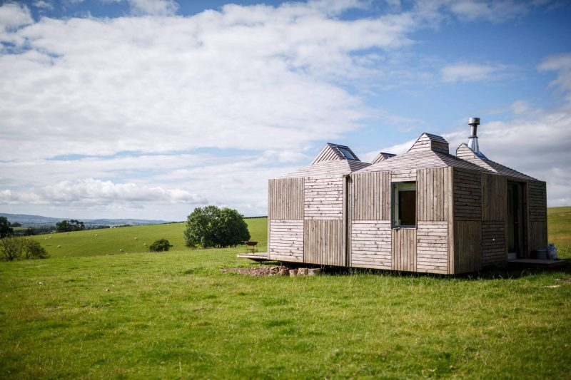 Brockloch Bothy sits remotely on the farm and the off grid building's distinctive pyramid roofs have integral solar panels and skylights for stargazing under Galloway's Dark Skies.
