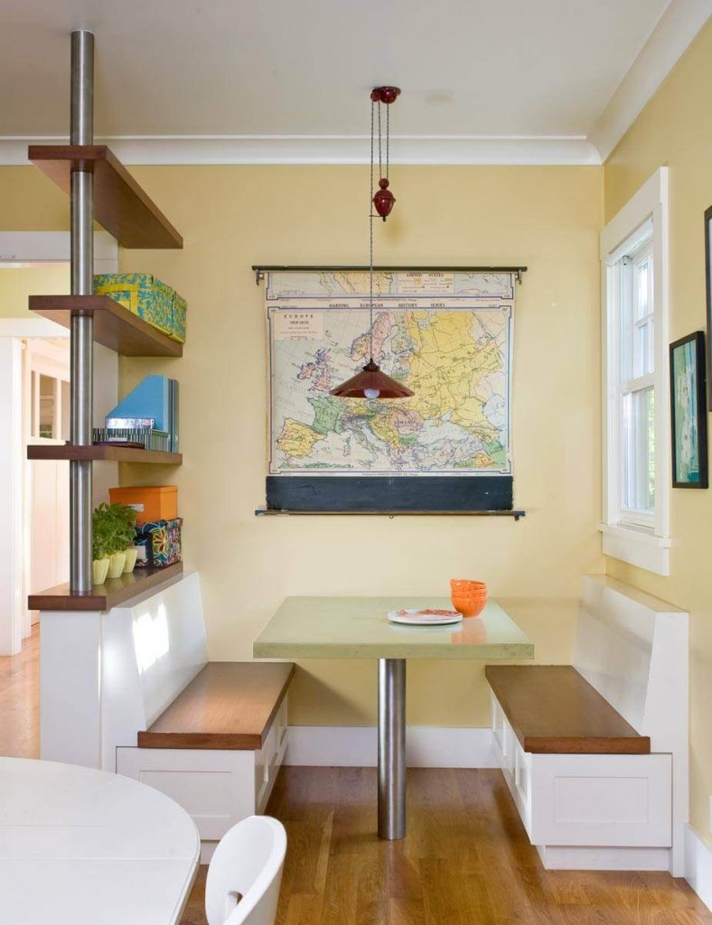 Custom made shelves and an antique map make this San Francisco kitchen designed by Ana Williamson a practical and stylish spot
