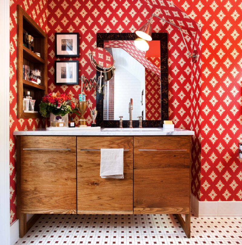 Example of an eclectic mosaic tile floor bathroom design in DC Metro with an undermount sink, flat panel cabinets, medium tone wood cabinets and red walls.