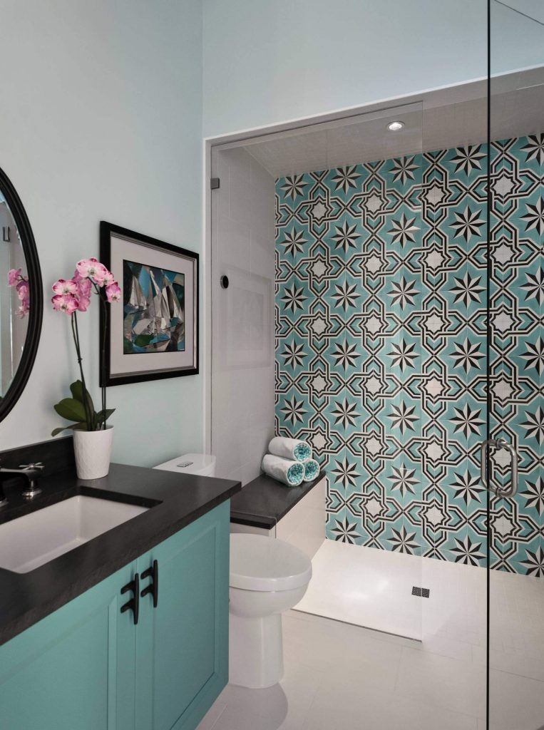 Mid sized transitional multicolored tile and cement tile white floor and porcelain floor bathroom photo
