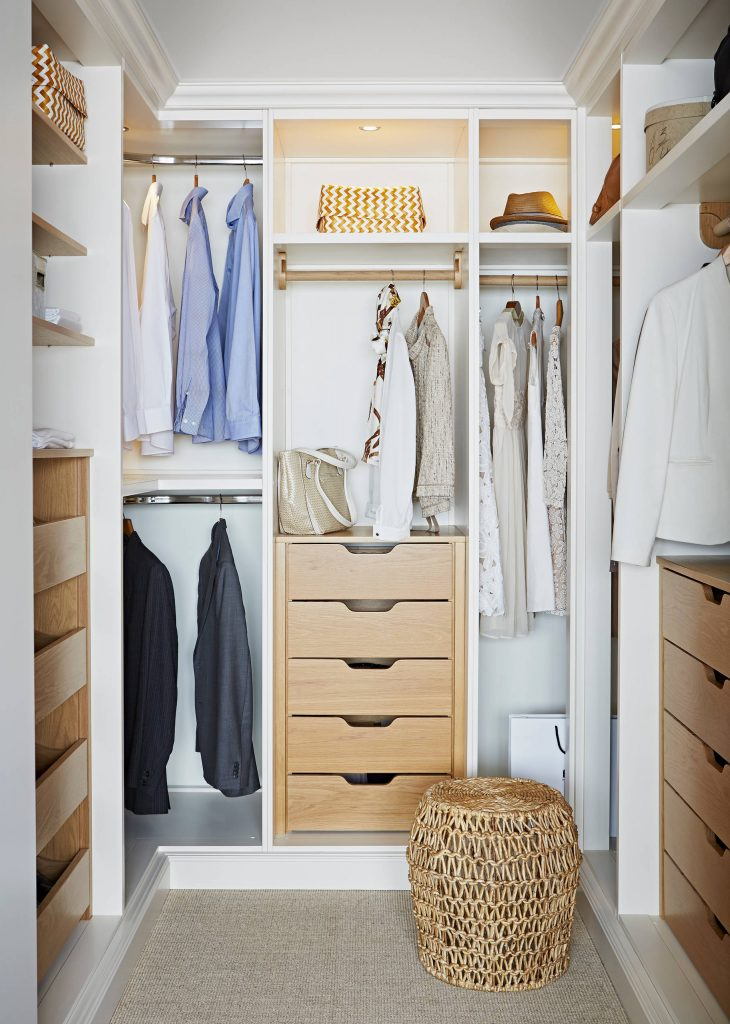 Most popular closet (2) White and wood is a popular combination, and this closet shows why. Oak drawers contrast crisp white cabinetry and complement the natural texture of the footstool. This closet is about 10 feet long and 8 feet wide.