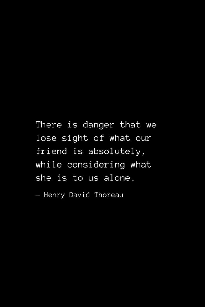 There is danger that we lose sight of what our friend is absolutely, while considering what she is to us alone. — Henry David Thoreau