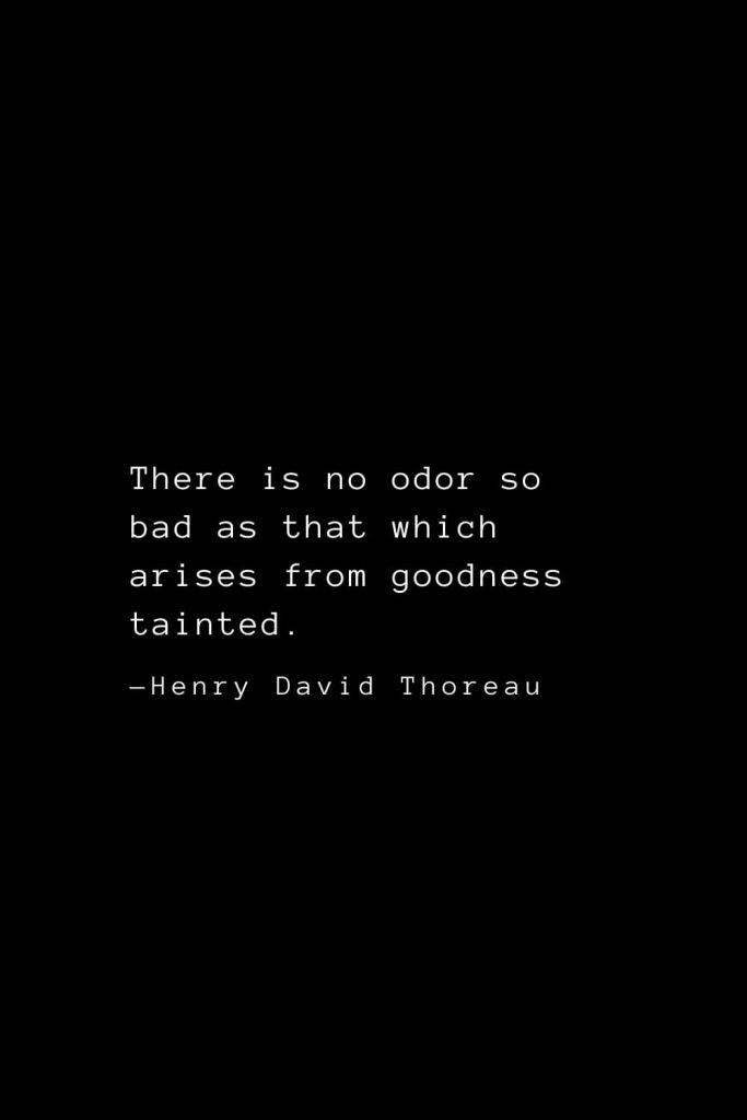 There is no odor so bad as that which arises from goodness tainted. — Henry David Thoreau