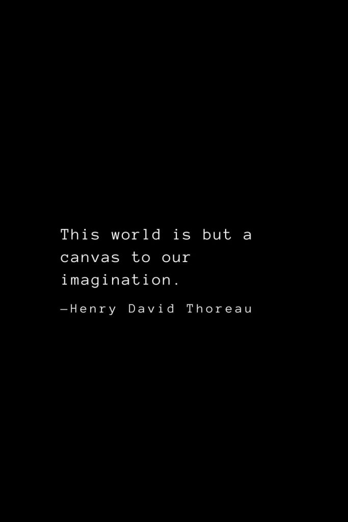 This world is but a canvas to our imagination. — Henry David Thoreau