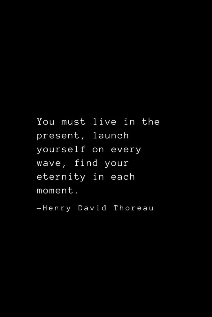 You must live in the present, launch yourself on every wave, find your eternity in each moment. — Henry David Thoreau