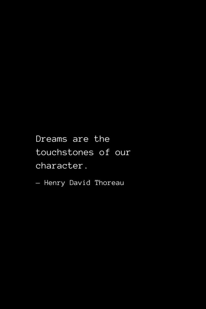 Dreams are the touchstones of our character. — Henry David Thoreau