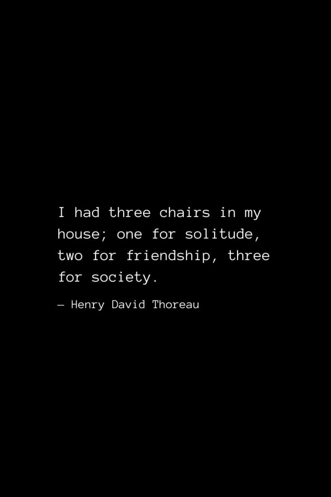 I had three chairs in my house; one for solitude, two for friendship, three for society. — Henry David Thoreau